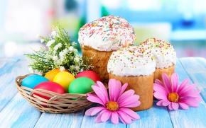 Обои Пасха, глазурь, куличи, крашенки, яйца, цветы
