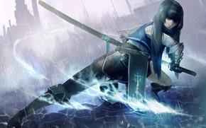 Картинка девушка, меч, арт