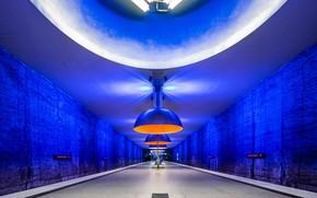 Картинка метро, станция, Германия, Мюнхен, перрон, светильник