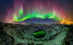 Картинка звезды, свет, ночь, огни, Северное сияние, кратер, Исландия, кратерное озеро, Керид, Kerið