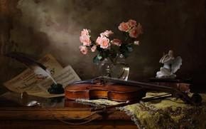 Картинка скрипка, часы, розы, ангел, статуэтка, натюрморт