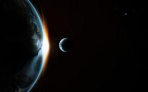 Картинка космос, восход, луна, звёзды, планета Земля, спутник Земли
