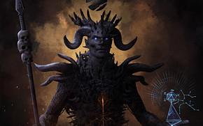 Картинка существо, рога, жезл, голограмма, Tribal God of Fire
