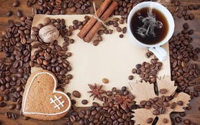 Картинка кофе, зерна, печенье, чашка, hot, heart, coffee beans