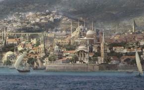 Картинка город, берег, здания, лодки, Mediterranean City