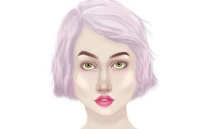 Картинка белый, глаза, девушка, лицо, розовый, рисунок, каре