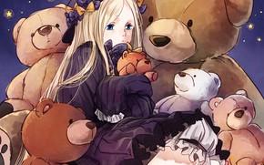 Картинка игрушки, аниме, арт, девочка, звёздочки, мишки, плюшевые мишки, Fate Grand Order, Судьба великая кампания, Abigail …