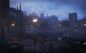 Картинка ночь, город, здания, фонари, Kitbash