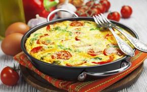 Картинка яйца, помидор, вилки, омлет
