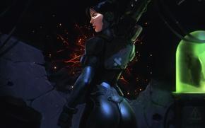 Картинка попа, взгляд, девушка, лицо, фантастика, арт, костюм, пушка, задница, Plasma Gun