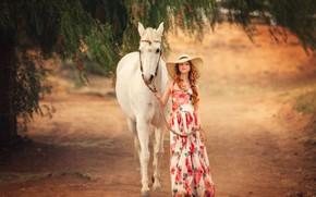 Картинка настроение, конь, лошадь, шляпа, платье, девочка, Edie Layland