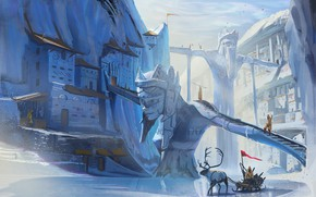 Картинка лёд, олень, сани, поселение, Ice and Horns