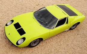 Картинка Цвет, Lamborghini, Ретро, Зеленый, Машина, Ресницы, Сверху, Фары, Автомобиль, Суперкар, 1970, Miura, Supercar, Lamborghini Miura, ...