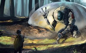 Картинка лес, человек, пришелец, аппарат, The Arrival