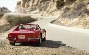 Картинка тень, Ferrari, феррари, задок, Retro, Dino, 206GT