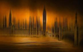 Картинка мост, река, Англия, Лондон, башня, Биг-Бен, эффекты, парламент