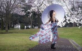 Картинка девушка, весна, зонт