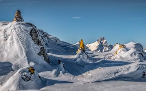 Картинка зима, небо, солнце, снег, горы, камни, скалы, Франция, Альпы
