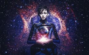 Обои мечта, звезды, пространство, девушка, вселенная, голубые глаза, галактика, вечность, земля, красота, видение