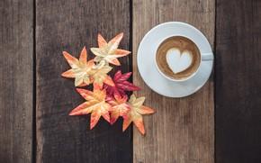 Картинка осень, листья, любовь, сердце, кофе, чашка, love, heart, wood, autumn, leaves, cup, romantic, coffee, осенние, …