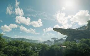Картинка лес, небо, горы, скала, Ingonyama