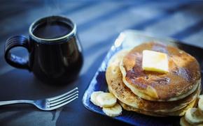Обои breakfast, кофе, блины