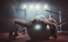 Картинка blonde, ball, female, workout, gym