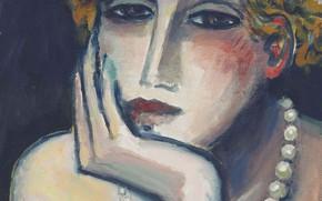 Обои Jean-Pierre Cassigneul, Современная французская живопись, грустная, бусы, 2000, Лицо II