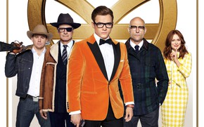 Обои постер, винчестер, Kingsman: The Golden Circle, Марк Стронг, Mark Strong, Taron Egerton, очки, Тэрон Эджертон, ...