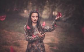 Картинка взгляд, девушка, бабочки, фон, настроение, руки, платье, оригами, боке, Pilar Roca Garcia