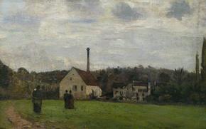 Картинка пейзаж, дом, картина, труба, Камиль Писсарро, Маленькая Фабрика