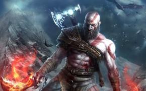 Картинка взгляд, оружие, птица, игра, арт, борода, топор, Kratos, God of War4