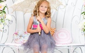Картинка цветы, ребенок, зонт, платье, девочка, girl, фотосессия, umbrella, flowers, child