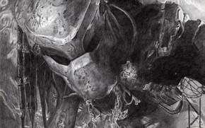 Картинка рисунок, хищник, пришелец, шлем, карандаш, Predator, тварь