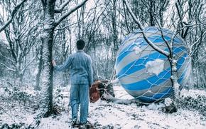 Картинка лес, воздушный шар, сон, мужчина, пижама, Adam Bird