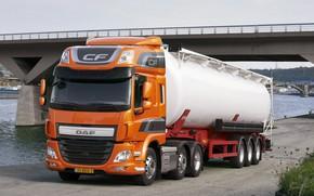 Картинка оранжевый, мост, стоянка, DAF, цистерна, седельный тягач, ДАФ, полуприцеп, 6х2, Euro6, DAF CF 440