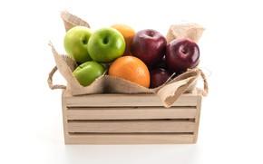 Картинка яблоки, апельсины, фрукты, витамины