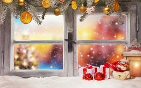 Картинка зима, снег, украшения, Новый Год, окно, Рождество, подарки, Christmas, winter, snow, window, Merry Christmas, Xmas, …