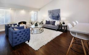 Картинка дизайн, стол, диван, ковер, мебель, камин, особняк, design, гостиная, room, living