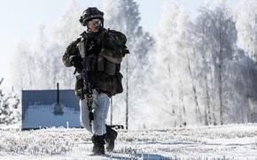 Картинка зима, солдат, экипировка