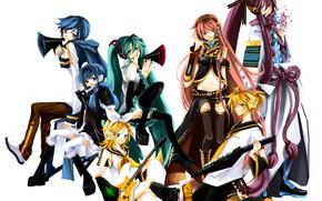 Картинка музыка, аниме, арт, белый фон, Vocaloid, Вокалоид, персонажи