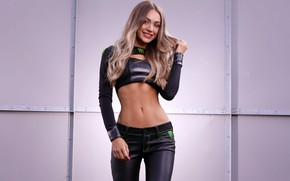 Обои tight clothing, lips, hips, body, looking at camera, long hair, black outfits, hand in hair, ...