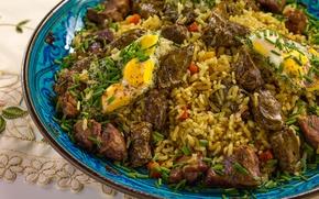 Картинка зелень, мясо, рис, плов