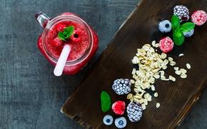 Картинка ягоды, малина, завтрак, черника, кружка, трубочка, напиток, ежевика, смузи