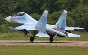 Картинка взлет, истребитель, аэродром, Су-30СМ