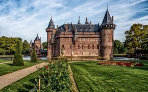 Обои газон, облака, пруд, небо, солнце, зелень, Нидерланды, замок, Castle De Haar, деревья, цветы