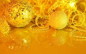 Картинка ленты, шары, новый год, украшение, декор
