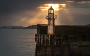 Картинка море, закат, маяк