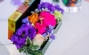 Картинка лето, цветы, кольца, семья, свадьба