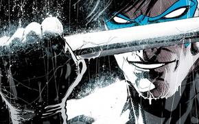 Картинка улыбка, оружие, герой, кулак, DC Comics, Дик Грейсон, Найтвинг, Dick Grayson, Nightwing